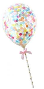 Balon z confetti na tort MIX KOLOR topper