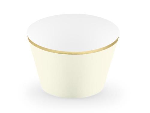 4880e45c1b0d75 Papilotki owijki jasnokremowe ze złotymi brzegami 7/250 - Cake Land